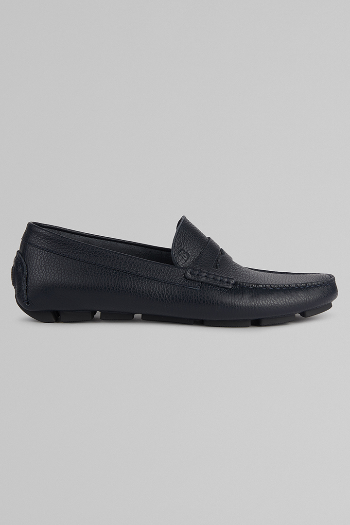 TUMBLED LEATHER LOAFERS, NAVY BLUE, large