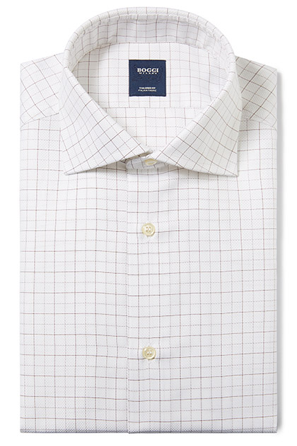 CAMICIA IN COTONE OPERATO COLLO WINDSOR TAILORED FIT, Moro, medium