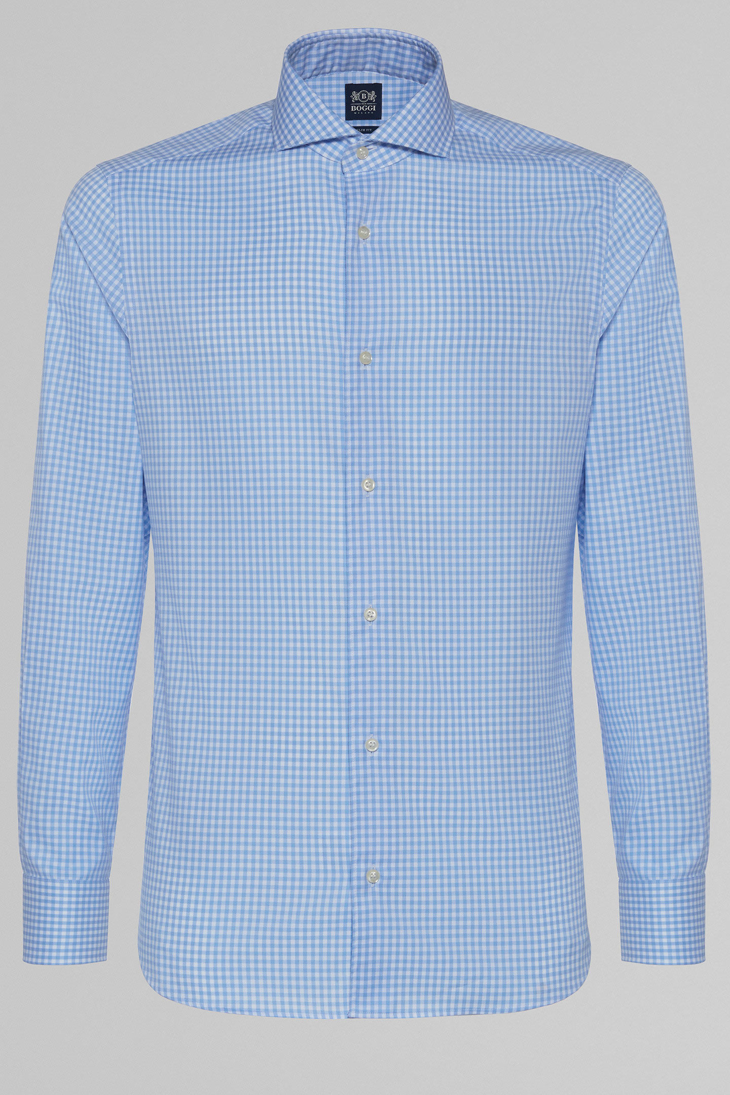 ... SLIM FIT SKY BLUE CHECKED SHIRT WITH NAPLES COLLAR, LIGHT BLUE, small ...