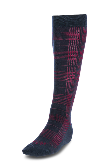 LONG HOUNDSTOOTH CHECK COTTON SOCKS - MADE IN ITALY, NAVY - BURGUNDY, medium
