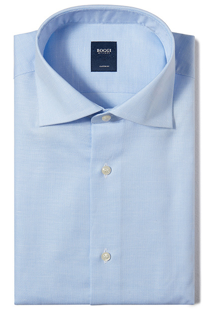 CUSTOM FIT TEXTURED COTTON/LINEN SHIRT WITH WINDSOR COLLAR, Light Blue, medium