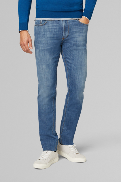 DENIM STRETCH LAVAGGIO MEDIO REGULAR FIT, , medium