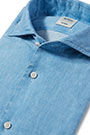 TAILORED FIT COATED LINEN SHIRT WITH BOWLING COLLAR, Light Blue, small
