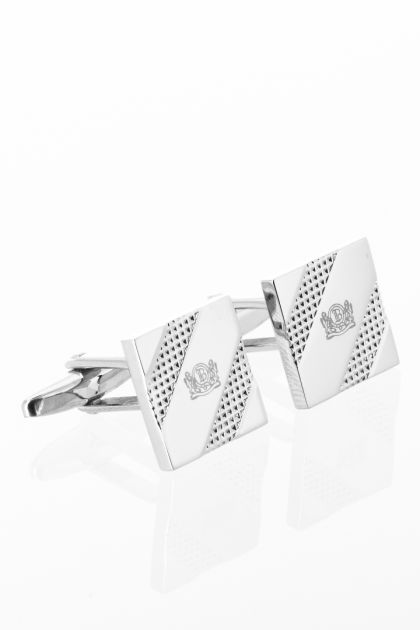 CREST SQUARE CUFFLINKS, Silver, medium