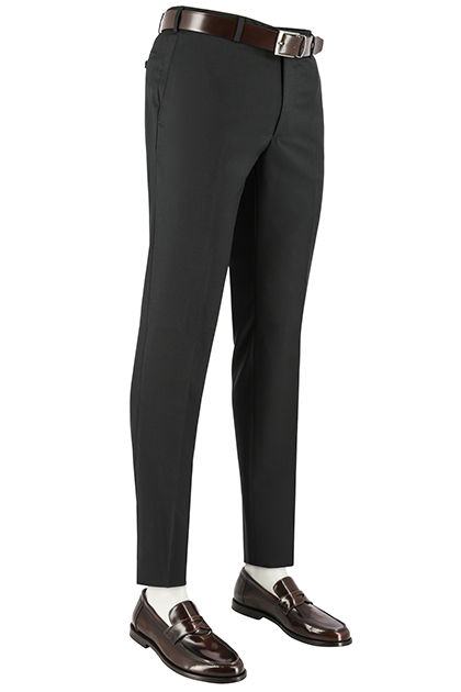 SUPER 100 WOVEN WOOL TROUSERS, Black, medium