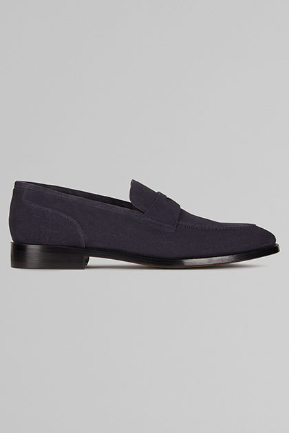 MOCASSINO IN PELLE SCAMOSCIATA, NAVY, medium