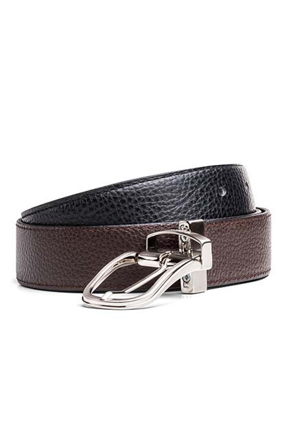 REVERSIBLE HAMMERED BELT, Nero - Moro, medium