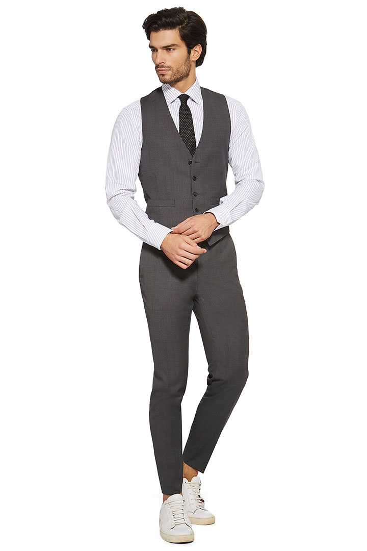 MICRO STRUCTURED WAISTCOAT IN SUPER 110 WOOL, Dark Grey, large
