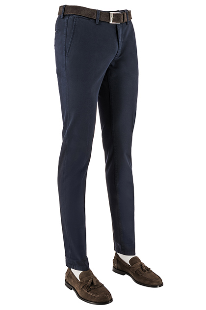BROKEN TWILL STRETCH COTTON TROUSERS, Navy Blue, medium