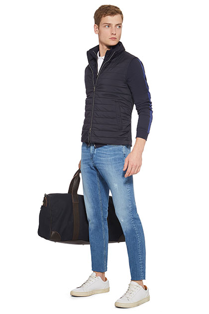 QUILTED GILET WITH JERSEY/TENCEL BLEND OUTER, Navy Blue, medium