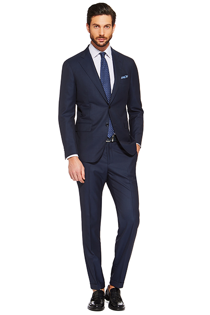 TAILORED PRINCE OF WALES CHECK SUPER 150 WOOL SUIT, Blue, medium