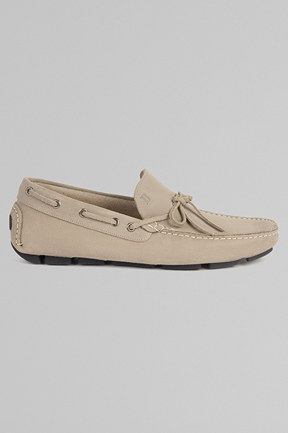 MOCASSINO IN PELLE SCAMOSCIATA, BEIGE, medium